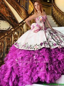 Custom Made Sweetheart Sleeveless Lace Up 15 Quinceanera Dress Pink And White Organza