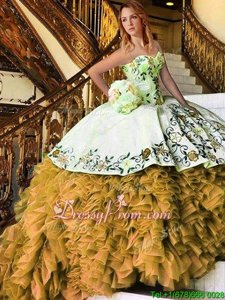 Beauteous Yellow And White Organza Lace Up Sweetheart Sleeveless Floor Length Quince Ball Gowns Appliques and Embroidery