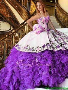 Wonderful Organza Sweetheart Sleeveless Lace Up Appliques and Embroidery 15 Quinceanera Dress inWhite And Purple
