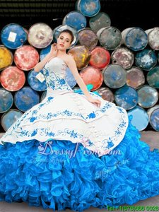Dynamic Floor Length Blue And White Quince Ball Gowns Organza Sleeveless Spring and Summer and Fall and Winter Appliques and Embroidery and Ruffles