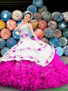 Custom Designed Sleeveless Appliques and Embroidery and Ruffles Lace Up Quinceanera Gowns