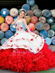 Fantastic Sweetheart Sleeveless Organza Sweet 16 Quinceanera Dress Appliques and Embroidery and Ruffles Lace Up