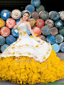 Cute Organza Sweetheart Sleeveless Lace Up Appliques and Embroidery and Ruffles 15 Quinceanera Dress inYellow And White