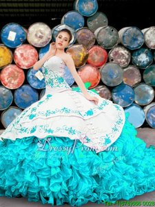 Latest Blue And White Lace Up Ball Gown Prom Dress Appliques and Embroidery and Ruffles Sleeveless Floor Length