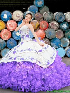 Smart Sleeveless Lace Up Floor Length Appliques and Embroidery and Ruffles Quinceanera Gown