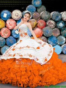 Stunning Organza Sweetheart Sleeveless Lace Up Appliques and Embroidery and Ruffles 15th Birthday Dress inOrange
