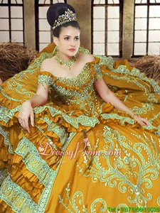Gold Sleeveless Satin Lace Up 15th Birthday Dress forMilitary Ball and Sweet 16 and Quinceanera