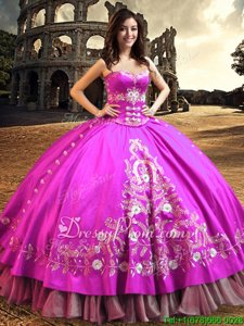 Elegant Floor Length Fuchsia Ball Gown Prom Dress Sweetheart Sleeveless Lace Up