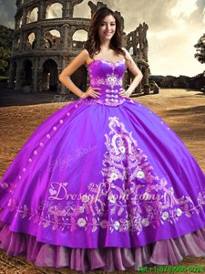 On Sale Sleeveless Lace Up Floor Length Embroidery Quinceanera Dress