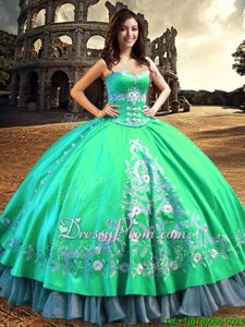 Enchanting Floor Length Lace Up 15th Birthday Dress Turquoise and In forMilitary Ball and Sweet 16 and Quinceanera withLace and Embroidery