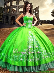 Inexpensive Spring Green Sleeveless Lace and Embroidery Floor Length Sweet 16 Dresses