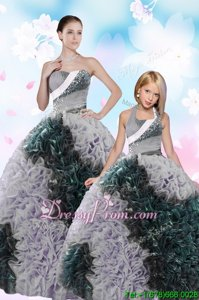 Suitable Sleeveless Floor Length Sequins and Pick Ups Lace Up Quinceanera Gowns with Multi-color