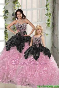 Custom Fit Sleeveless Floor Length Beading and Ruffles Lace Up Sweet 16 Dress with Pink And Black