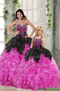 Modest Pink And Black Sweet 16 Dress Military Ball and Sweet 16 and Quinceanera and For withBeading and Ruffles Sweetheart Sleeveless Lace Up