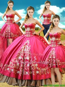 Super Taffeta Sweetheart Sleeveless Lace Up Beading and Embroidery Quince Ball Gowns inHot Pink