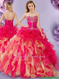 Exceptional Hot Pink and Gold Lace Up Sweetheart Beading and Ruffles Quinceanera Gowns Organza Sleeveless