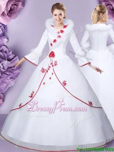 Floor Length White Vestidos de Quinceanera Tulle and Lace Long Sleeves Spring and Summer and Fall and Winter Embroidery and Hand Made Flower