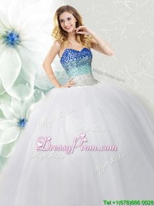 Fancy White Lace Up Sweetheart Beading Quinceanera Gowns Tulle Sleeveless
