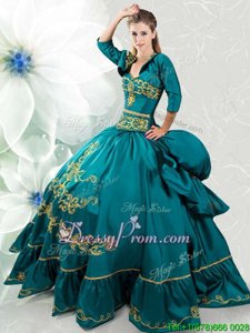 Peacock Green Ball Gowns Beading and Embroidery Quince Ball Gowns Lace Up Taffeta Sleeveless Floor Length