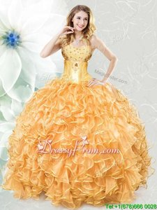 Floor Length Lace Up Quinceanera Gowns Gold and In forMilitary Ball and Sweet 16 and Quinceanera withBeading and Ruffles