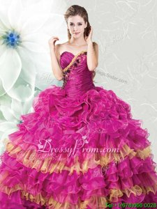 Charming Sleeveless Organza Floor Length Lace Up Quinceanera Dresses inFuchsia and Gold forSpring and Summer and Fall and Winter withRuffles and Ruffled Layers