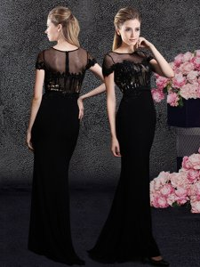Black Scoop Neckline Appliques and Sequins Prom Evening Gown Short Sleeves Zipper