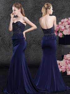Mermaid With Train Navy Blue Homecoming Dress Satin Brush Train Sleeveless Beading