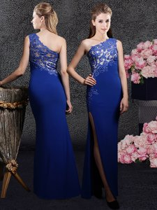 One Shoulder Royal Blue Side Zipper Prom Dress Lace and Appliques Sleeveless Floor Length