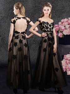 Romantic Sweetheart Short Sleeves Backless Prom Party Dress Black Tulle