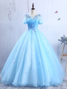 Stunning Scoop Floor Length A-line Short Sleeves Baby Blue Prom Dress Lace Up