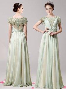 Unique Scoop Apple Green Zipper Prom Party Dress Appliques Short Sleeves Floor Length