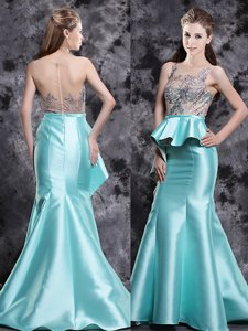 Brush Train Mermaid Homecoming Dress Aqua Blue Scoop Satin Sleeveless Zipper