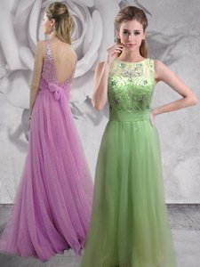 Top Selling Backless Lilac Sleeveless Brush Train Beading With Train Prom Dress