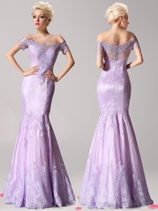 Mermaid Off the Shoulder Lavender Short Sleeves Lace Zipper Prom Dresses for Prom