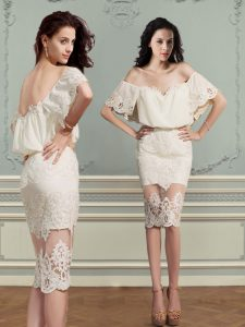 Delicate Off the Shoulder Lace Homecoming Dress Champagne Backless Short Sleeves Knee Length