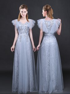 Lace Grey V-neck Neckline Appliques and Belt Prom Dress Short Sleeves Zipper