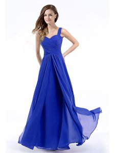 Fine Straps Straps Royal Blue Chiffon Zipper Prom Dresses Sleeveless Floor Length Hand Made Flower