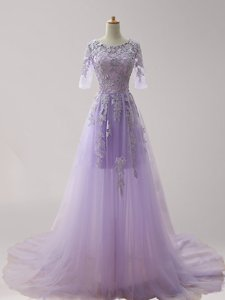 Enchanting Tulle Scoop Half Sleeves Brush Train Zipper Appliques Homecoming Dress in Lavender