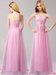 Captivating Floor Length Lace Up Prom Dresses Rose Pink and In for Prom with Beading and Appliques