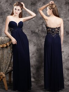 Navy Blue Sweetheart Zipper Appliques Prom Dresses Sleeveless