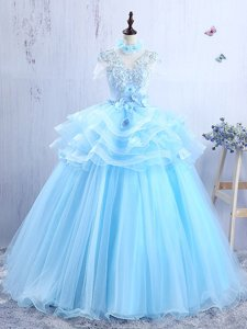 Baby Blue Short Sleeves Floor Length Appliques and Ruffles Lace Up Evening Dress