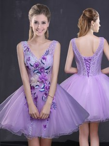 Fashionable Mini Length Lavender Homecoming Dress Organza Sleeveless Lace and Appliques