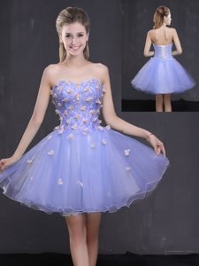 Lavender Tulle Lace Up Sweetheart Sleeveless Mini Length Prom Gown Appliques