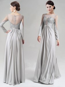 Scoop Long Sleeves Prom Dresses Floor Length Beading and Lace Silver Chiffon
