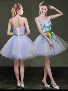 Custom Made Lavender Sleeveless Organza Lace Up Homecoming Dress for Prom and Party