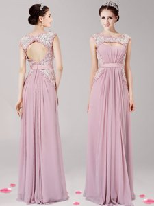 Pink Zipper Scoop Appliques Evening Dress Chiffon Sleeveless