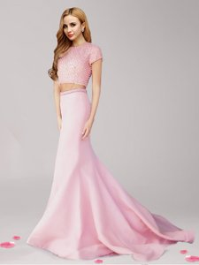Spectacular Pink Scoop Neckline Beading Prom Dresses Short Sleeves Zipper