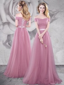 Off the Shoulder Pink Short Sleeves With Train Ruching and Belt Lace Up Prom Party Dress