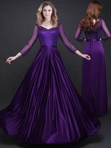 Admirable Purple Elastic Woven Satin Lace Up Long Sleeves Floor Length Prom Gown Appliques and Belt