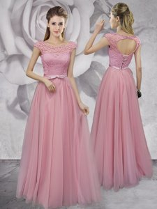 Custom Fit Scoop Pink Empire Lace and Ruching and Bowknot Dress for Prom Lace Up Tulle Cap Sleeves Floor Length